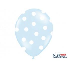 Balon pastel veliki 30 cm plavi s bijelim točkicama